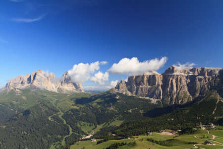 sella: Italian Dolimites with Langkofel and Sella mountain Stock Photo