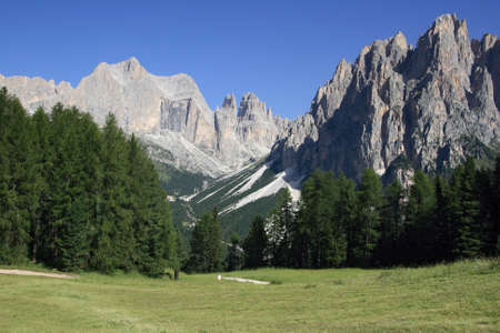 summer view of Catinaccio mountain, Italian Dolomites