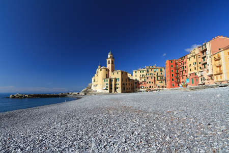 beach and church in Camogli, Liguria, Italy photo