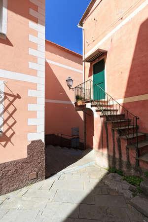 typical  Ligurian village,  San Rocco in Camogli, Italy photo