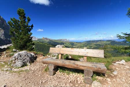 gardena: Gardena valley with wooden bench, Italian Dolomites