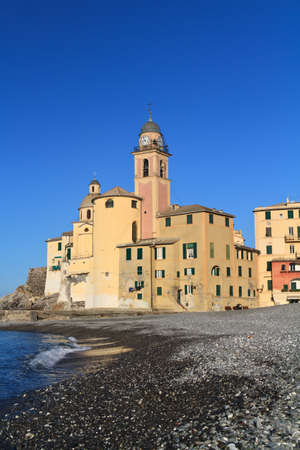 beach and church in Camogli, Italy photo