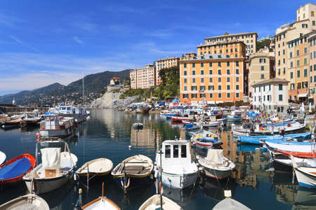 characteristic: Camogli with the characteristic small harbor, Italy