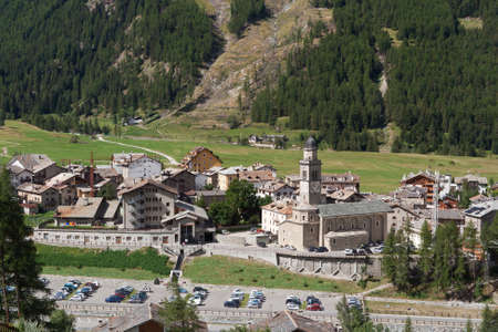 aosta: aerial view of Cogne, small town in Aosta Valley, Italy