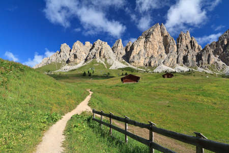 view of Cir montain from Gardena pass, Italian Dolomites Stock Photo