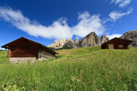 barns beneath Cir group, Trentino Alto Adige, Italy photo