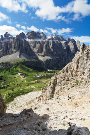 Sella mount and Gardena pass from Cir group, Dolomites Stock Photo