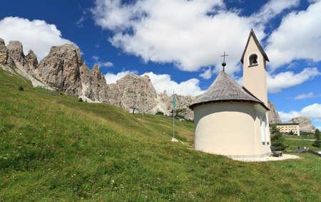 cir: chapel beneath Cir Dolomites in Gardena pass, Italy
