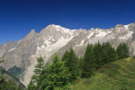 Mont Blanc from Ferret valley, Courmayeur, Italy photo