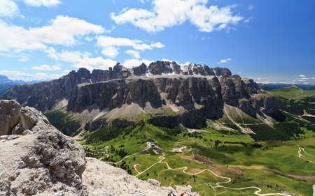 Dolomites, aerial view of Gardena pass and Sella goup