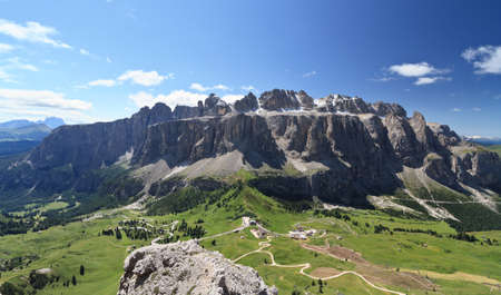 cir: aerial view of Gardena pass and Sella goup, Dolomites Stock Photo