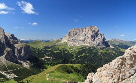 Gardena pass and Sassolungo mount, Italian Dolomites