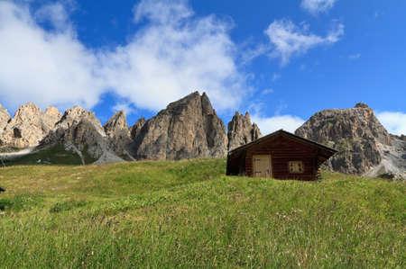 barns beneath Cir group, Gardena pass, Alto Adige, Italy