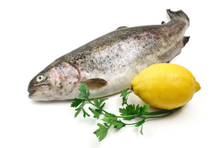 rainbow trout with lemon and parsley over white  photo