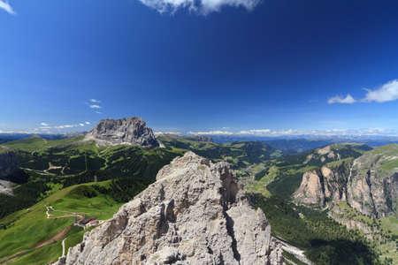 Gardena Valley with Sassolungo and Cir mount, Italy