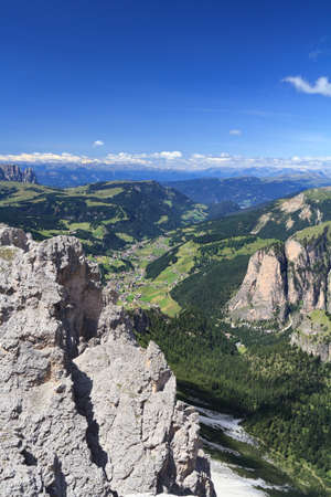 summer landscape of Gardena Valley and Cir mount, Italy