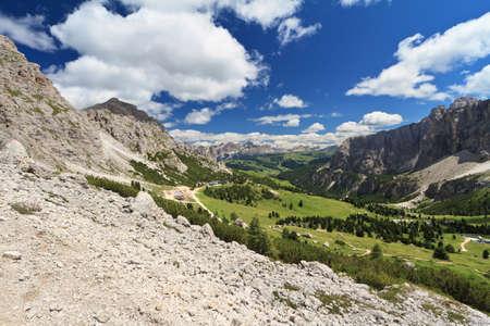 gardena: high Badia Valley from Gardena pass, Alto Adige, Italy