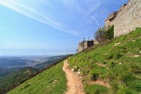 medieval fortifications over Genova hills, Liguria, Italy photo