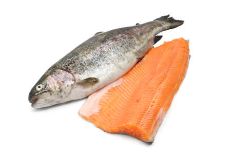 fresh trout and fillet over white background Stock Photo - 17177075