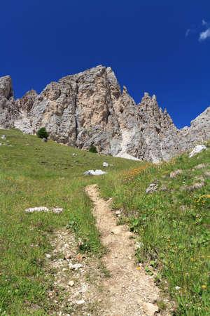 path beneath Cir Dolomites, Trentino Alto Adige, Italy Stock Photo