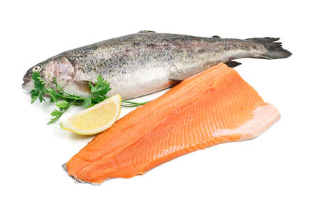 fresh trout and fillet with lemon over white background Stock Photo - 17305823