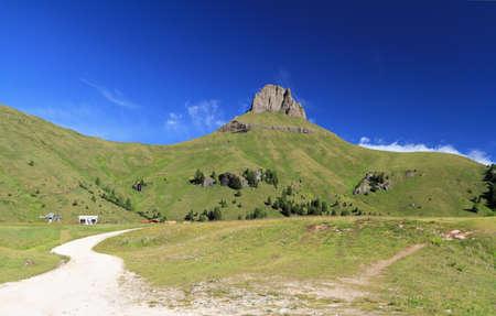 landscape in Ciampac of Canazei, Italian Dolomites Stock Photo