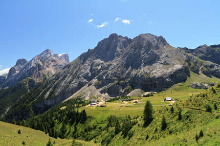 odle: Dolomiti - mount Colac and Ciampac of Canazei Stock Photo
