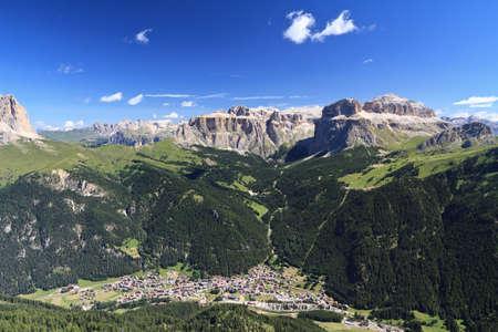 fassa: overview of Canazei, Fassa valley, trentino, Italy