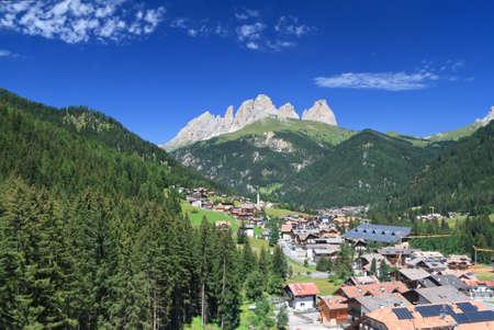 fassa: overview of Alba di Canazei, small town in Val di Fassa, Trentino, Italy