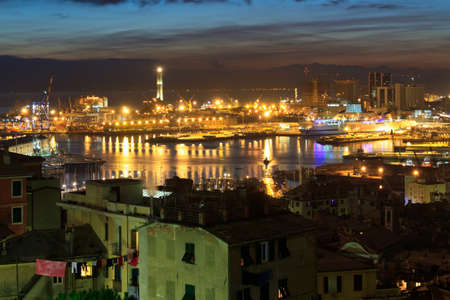 the ancient port in genova at evening, Liguria, Italy photo