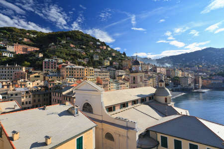 church and town in Camogli, Liguria, Italy