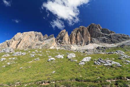 fassa: Sassopiatto and Sassolungo mount, Fassa Valley, Italy