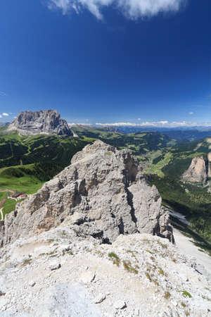 Gardena Valley and Sassolungo from Cir summit