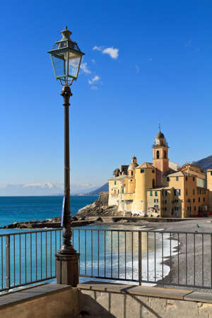 church and promenade in Camogli, Liguria, Italy photo