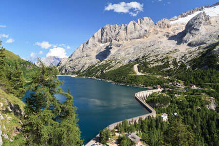 mount Marmolada and Fedaia lake, Trentino, Italy Stock Photo