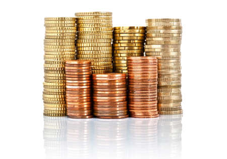 euro currency piled up isolated on white background photo