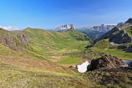 fassa: view of Ciampac and Fassa valley, Trentino, Italy Stock Photo