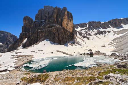 sella: Dolomiti - Pisciadu lake and peak in Sella mountain Stock Photo
