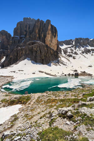 sudtirol: Pisciadu lake and peak in Sella mountain, sudtirol, Italy Stock Photo