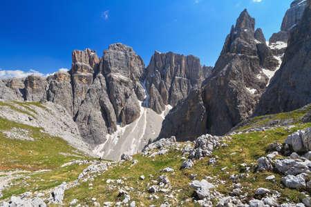 sella: landscape in Sella mountain, on background Piz da Lech peak and Mezdi valley, Alto Adige, Italy