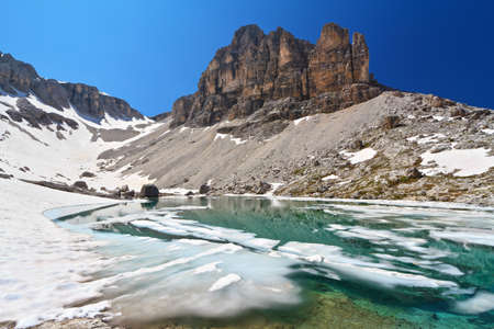 sudtirol: summer view of  Pisciadu lake and Sas de Lech peak in Sella mountain, sudtirol, Italy Stock Photo