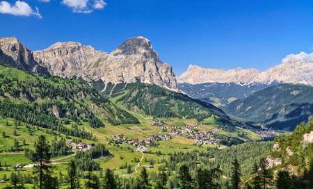 Panorama of Dolomiti Mountains and Badia Valley, Trentino Alto Adige, Italy Фото со стока