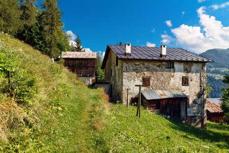 barn in a green field in Ronch, small village in Italian dolomites photo