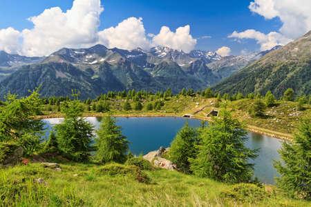 Doss dei Gembri small lake in Pejo Valley, Trentino, Italy Фото со стока