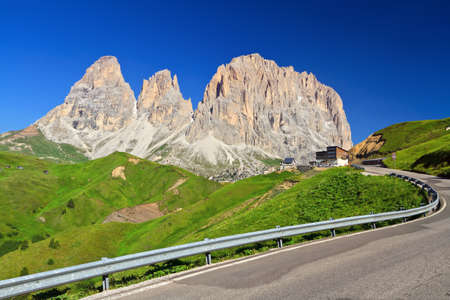 alto adige: summer view of of Sella pass with Sassolungo mount, Trentino Alto Adige, Italy
