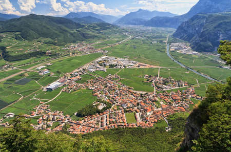italy landscape: Overview of Adige Valley with Mezzacorona village Trentino Italy Stock Photo