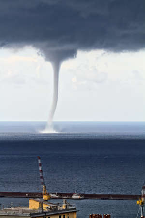 windstorm: Huge waterspout over the port of Genova, Italy