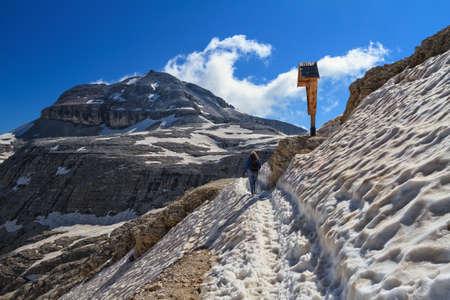 sella: Dolomiti - hiking on Sella mout. On background Pix Boe peak