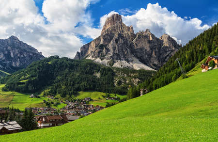 overview of Corvara in Badia town and Sassongher mount, south Tyrol, Italy