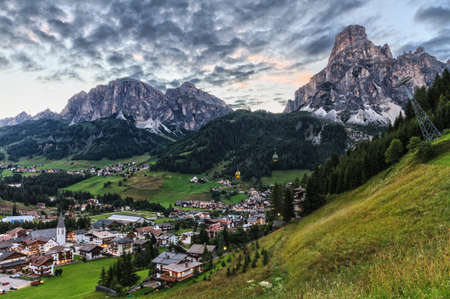 alto adige: Corvara village and Badia Valley in summer Alto Adige, Italy